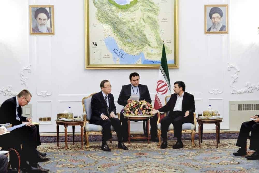 Ban Ki-moon meets with Mahmoud Ahmadinejad in Iran.