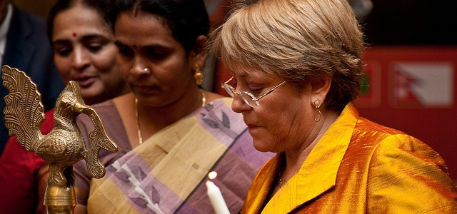 Michelle Bachelet, the UN Women chief, in Jaipur, India, on Oct. 4, 2012