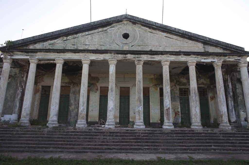A former colonial-era government building on the island of Bolama, Guinea-Bissau's first capital.