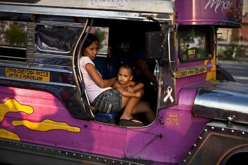 Filipino in jeepney in Manila