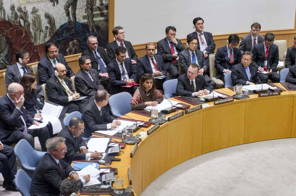 Security Council meeting, with foreign minister of Pakistan