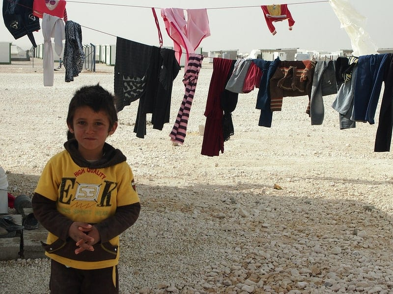 Syrian child in a Jordanian refugee camp