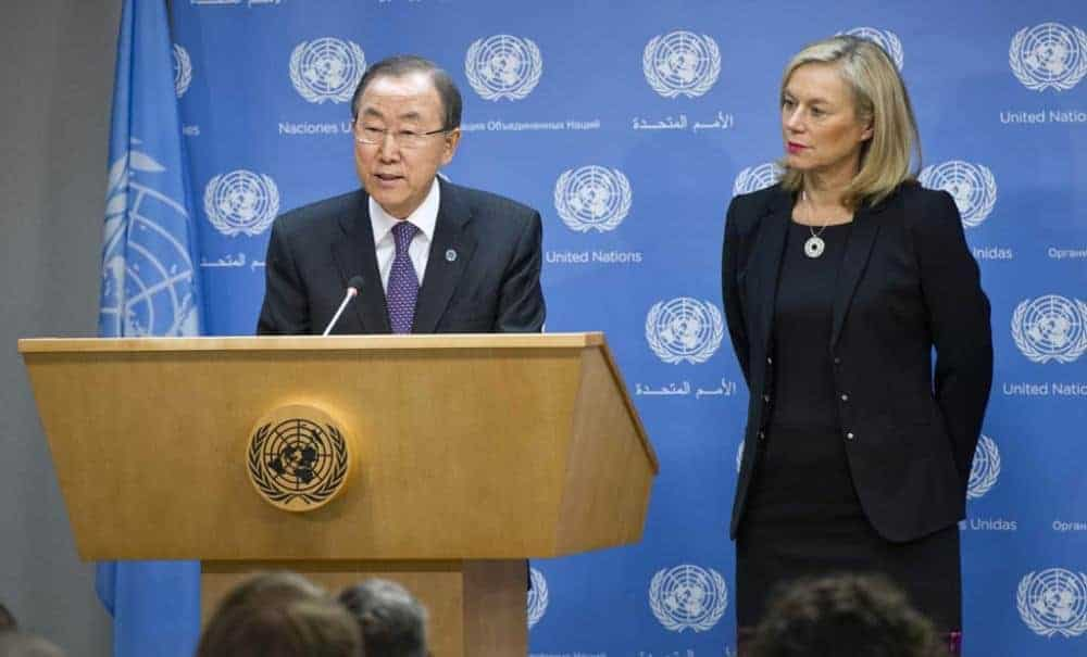 Sigrid Kaag with Ban Ki-moon at the UN press briefing