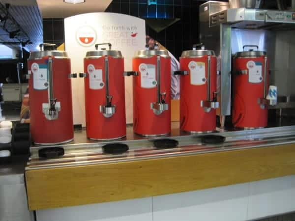 Coffee urns in UN cafeteria
