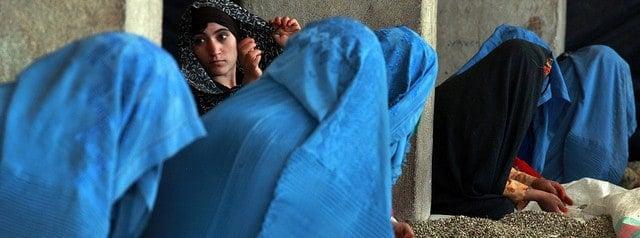 Afghan women sorting pistachios in Herat