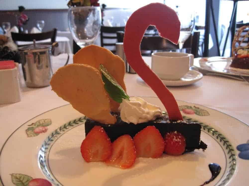 Flourless chocolate cake at Paname restaurant