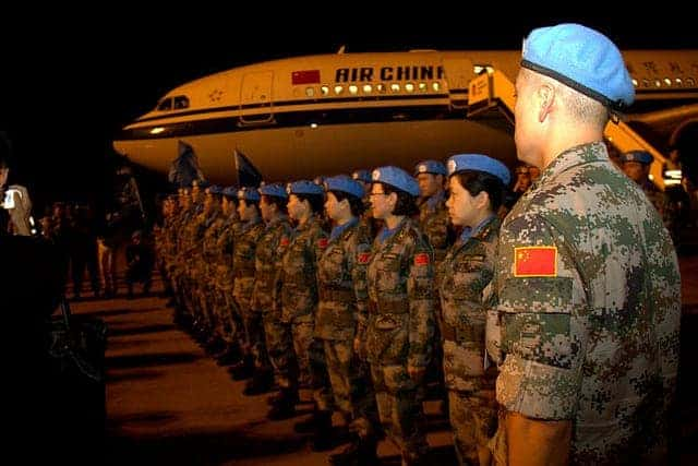 Chinese peacekeepers arriving in Bamako, Mali