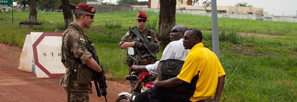 French soldiers at the checkpoint of their base in Bangui