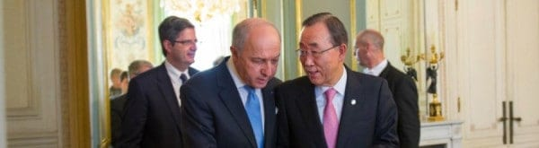 Laurent Fabius, France's foreign minister, left, and Ban Ki-moon, UN secretary-general at the UN's conference on climate change.