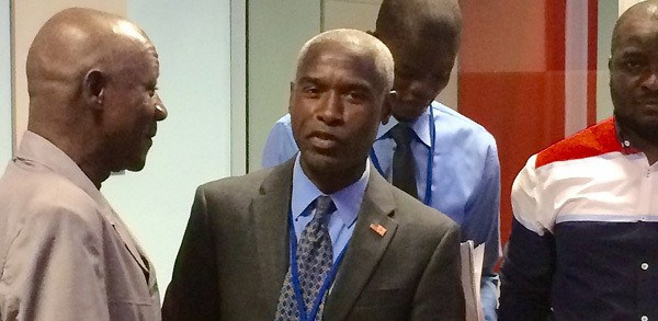 Tulinabo Mushingi, center, the US ambassador to Burkina Faso