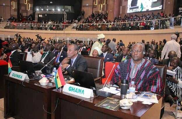 At the 27 ordinary session of the African Union, July 2016: Alpha Condé, president of Guinea; and John Mahama, president of Ghana.
