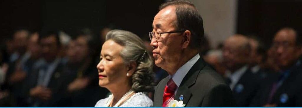 Ban Ki-moon receives the Seoul Peace Prize in South Korea on Oct. 29, 2012, with his wife, Yoo Soon-taek.