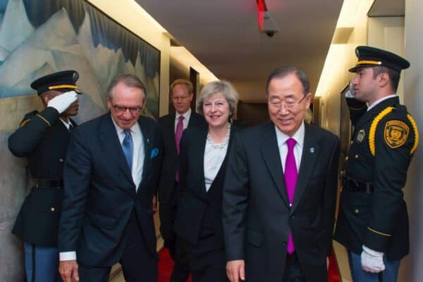 Theresa May, center, with Jan Eliasson, deputy secretary-general of the UN, left, and Ban Ki-moon, secretary-general, right. ESKINDER DEBEBE/UN PHOTO