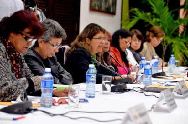 Mejía and other women participating in the Havana peace talks Colombia, sub-commission on gender.