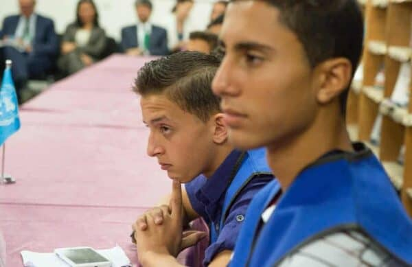Gaza schoolboys run by the UN Relief and Works Agency for Palestine Refugees. ESKINDER DEBEBE/UN PHOTO