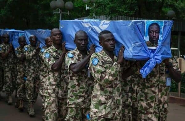 Funeral ceremony for a six peacekeepers from Burkina Faso, a West African nation, killed in an ambush in Mali.MARCO DOMINO/MINUSMA