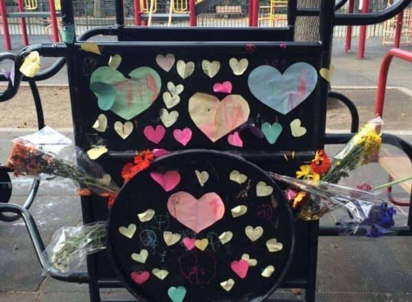 Demonstrators Adam Yauch playground in Brooklyn Heights, N.Y. DULCIE LEIMBACH