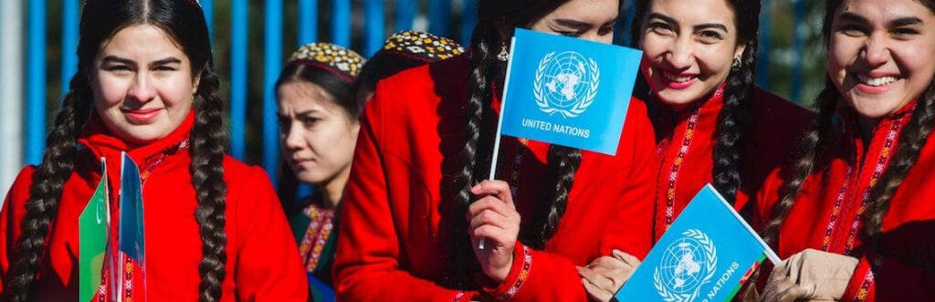 Celebrators at the opening of the New UN House in Ashgabat, the capital of Turkmenistan, on Nov. 26, 2016.