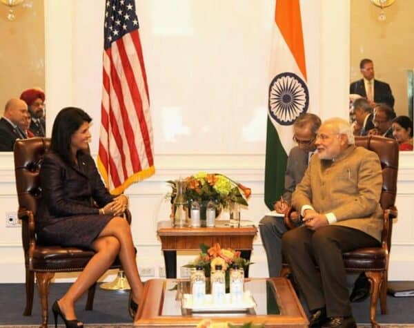 Nikki Haley, governor of South Carolina, meeting with Narendra Modi, prime minister of India, in New York, Sept. 28, 2014. CREATIVE COMMONS