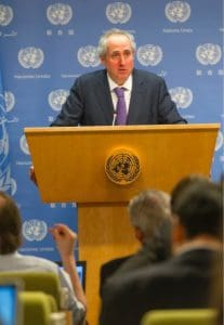 Stepháne Dujarric, the spokesman for Secretary-General Ban Ki-moon. MARK GARTEN/UN PHOTO