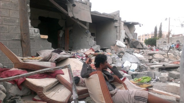 Sanaa Yemen families the day after an airstrike