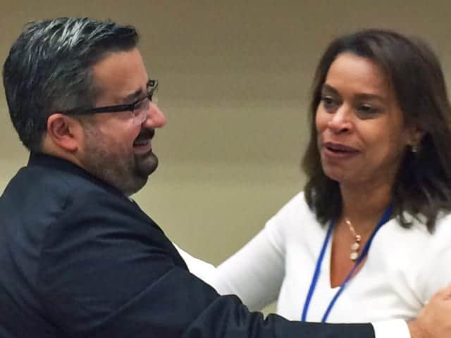Elayne Whyte Gómez with fellow Costa Rican diplomat, Juan Carlos Mendoza Garcia on July 7, 2017