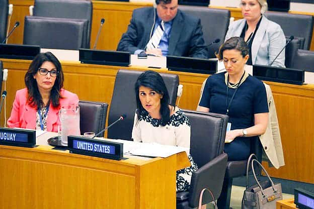 Nikki Haley delivering remarks at the UN
