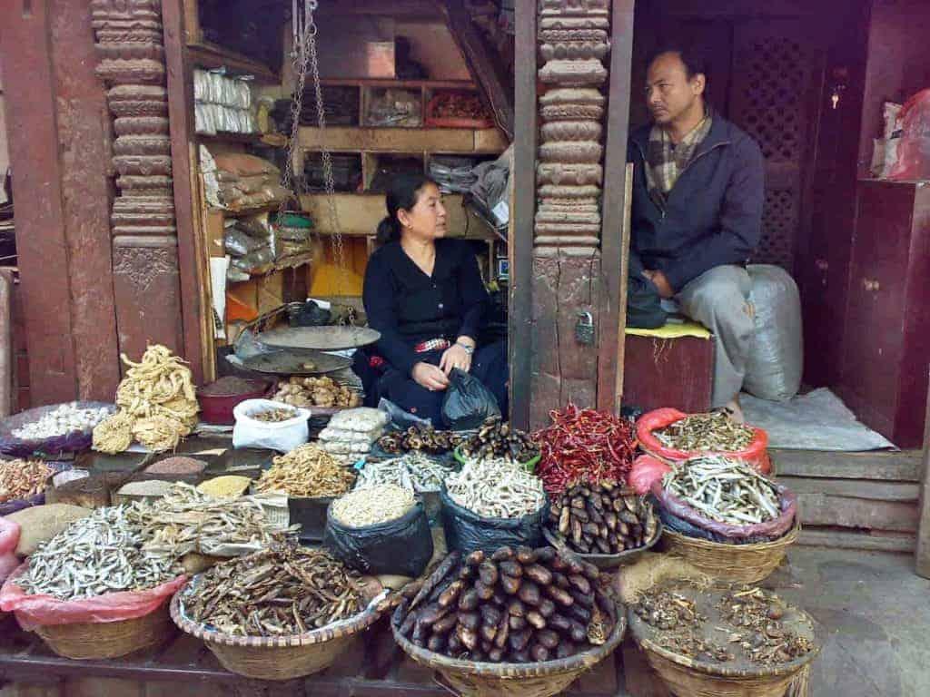 Dried-fish market in Katmandu, Nepal.