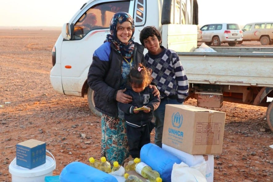 Syrian refugees stuck in Rukban camp, near the Jordan border
