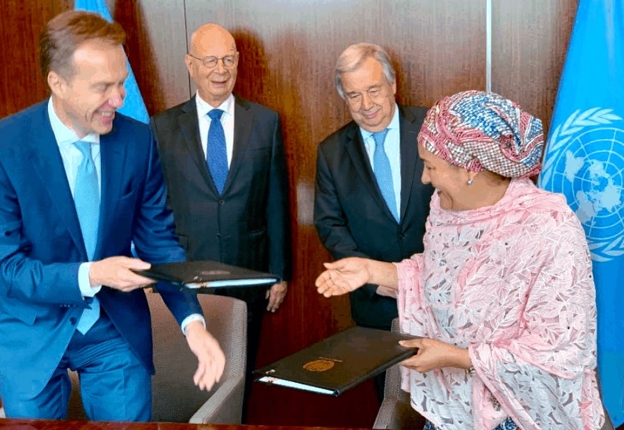 Amina Mohammed with Borge Brende, António Guterres and Klaus Schwab