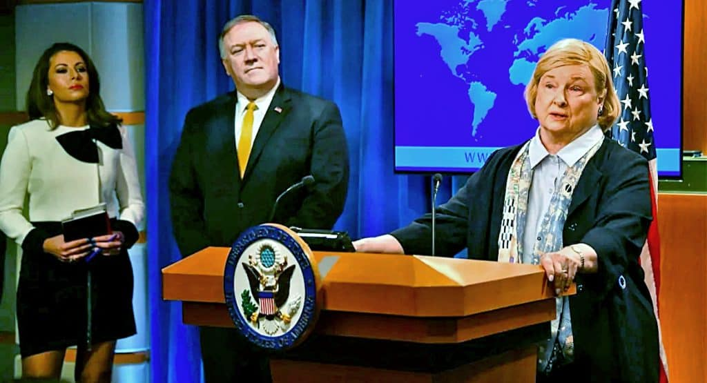 Secretary of State Mike Pompeo and Mary Ann Glendon