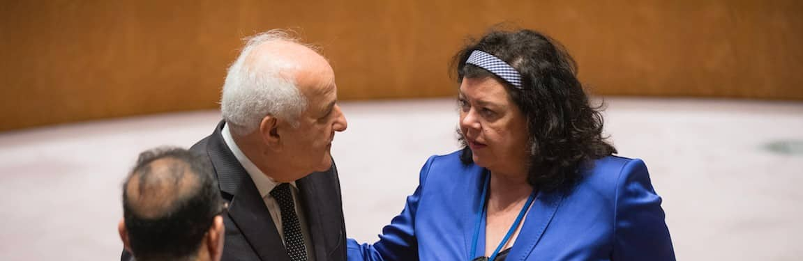 Karen Pierce of Britain and Riyad Mansour of Palestine at the UN