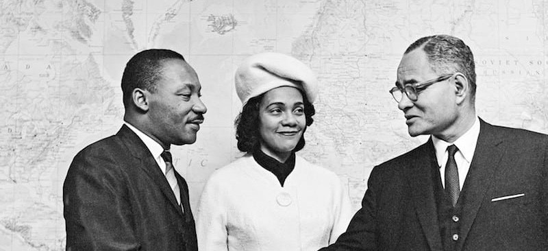 Martin Luther King Jr and Coretta Scott King with Ralph Bunche