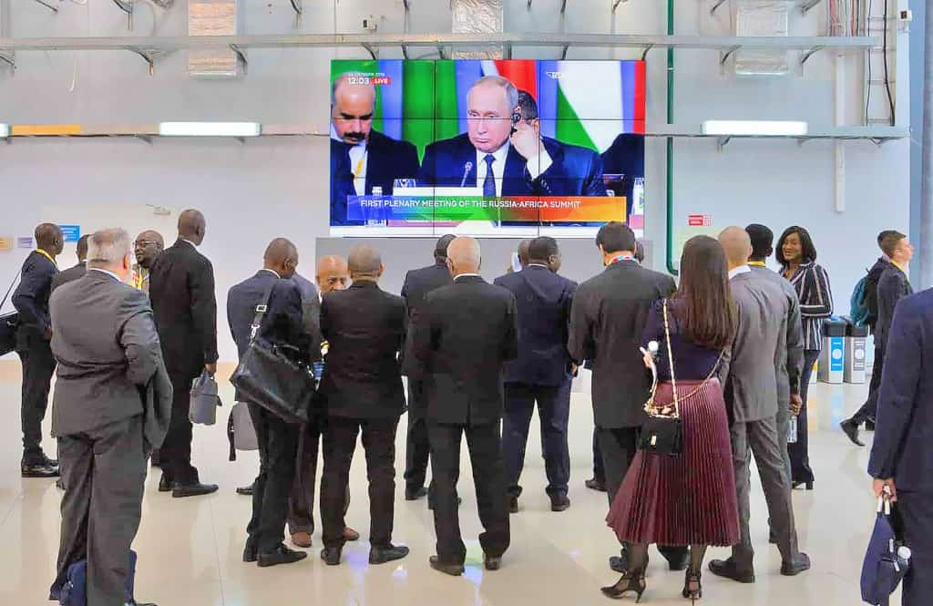 President Vladimir Putin delivering a speech by video conference