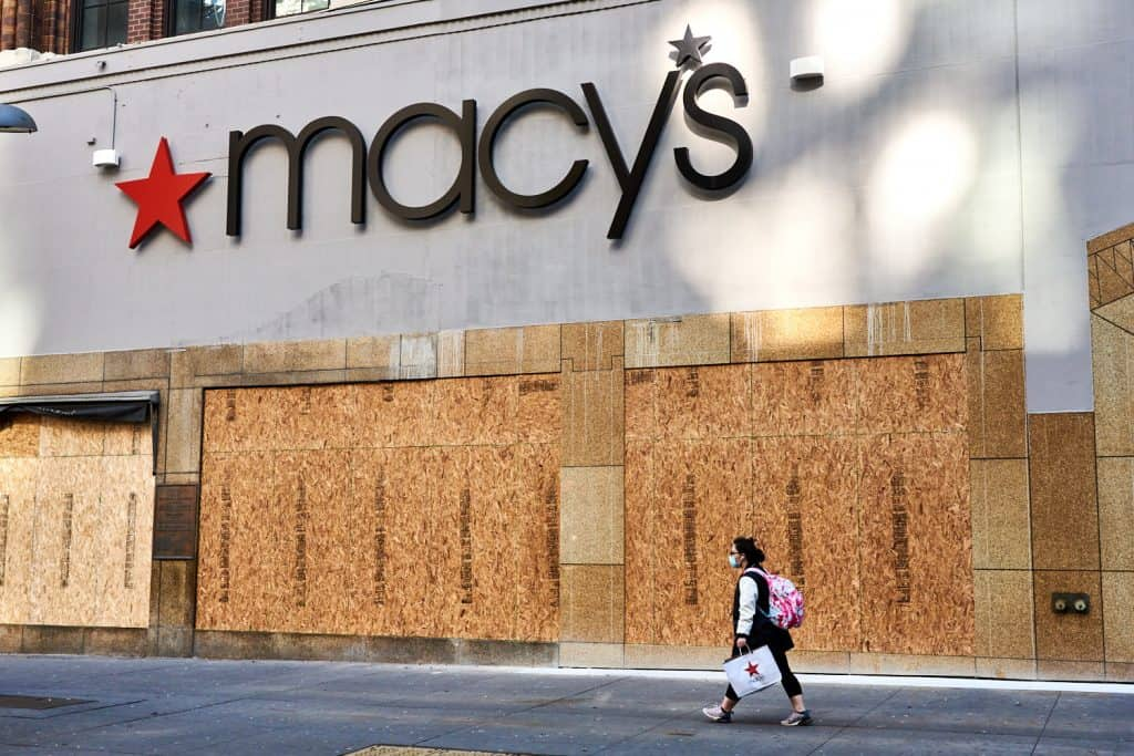 Macy's Department Store in Brooklyn, NY with boarded windows