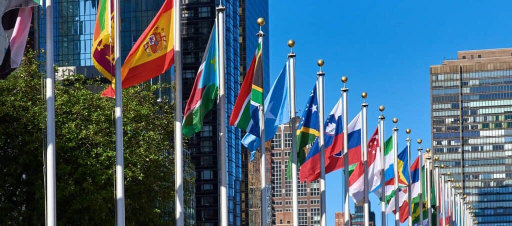 Flags of UN Member States outside of the UN in New York