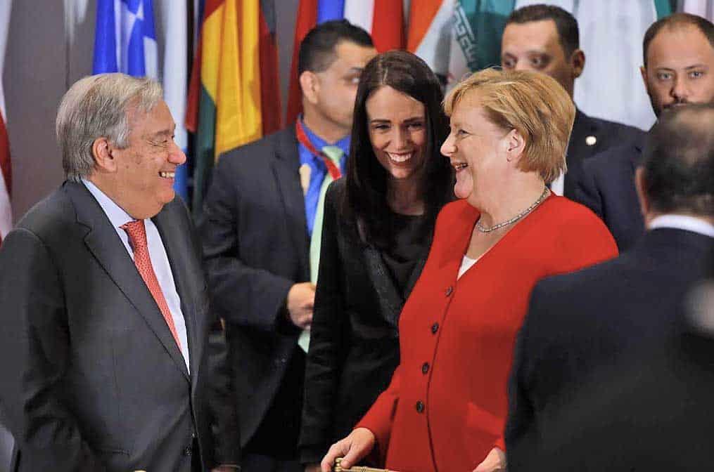 António Guterres, Jacinda Ardern and Angela Merkel
