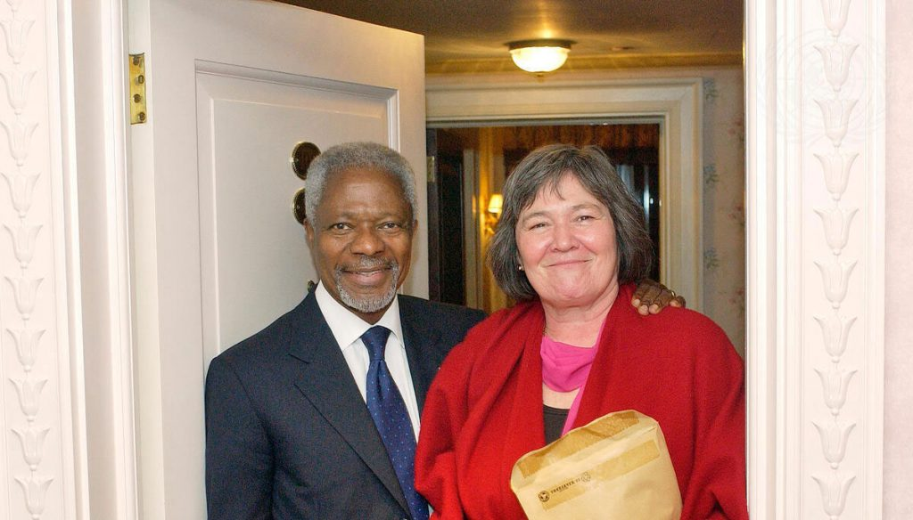 Kofi Annan and Clare Short in UK