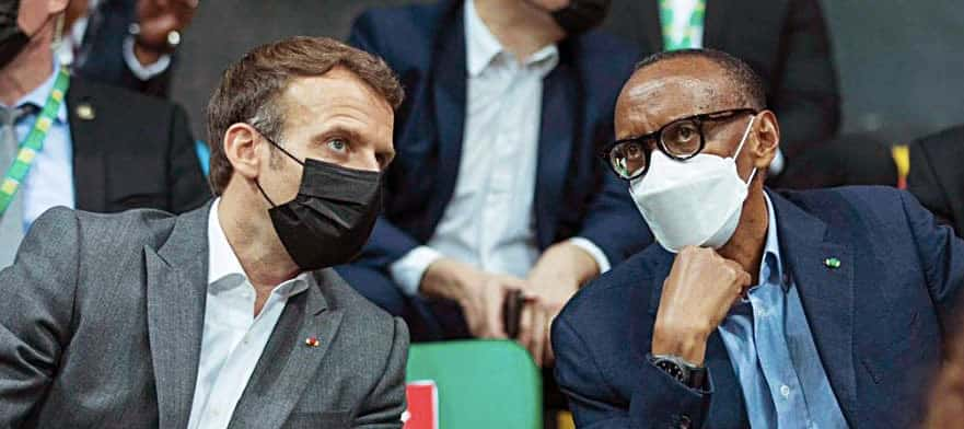 President Emmanuel Macron of France and President Paul Kagame of Rwanda