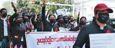 Lawyers march in an anti-dictatorship protest in Yangon.