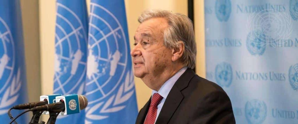 Secretary-General António Guterres briefing reporters