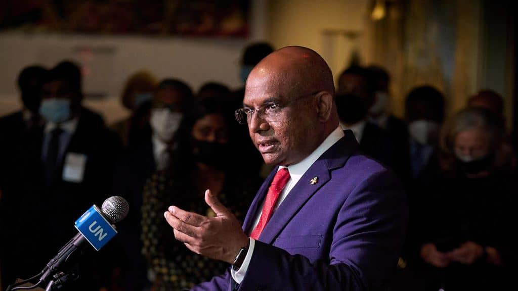 Abdulla Shahid of the Maldives at a UN press conference