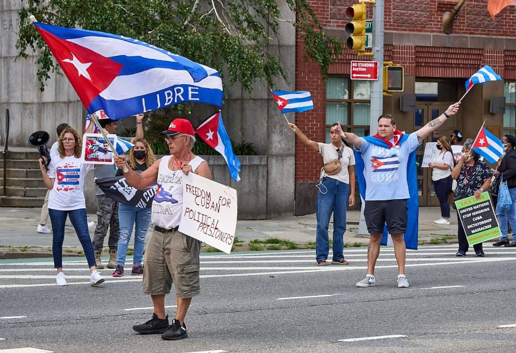 Cuba Protest in front of the UN Headquarters