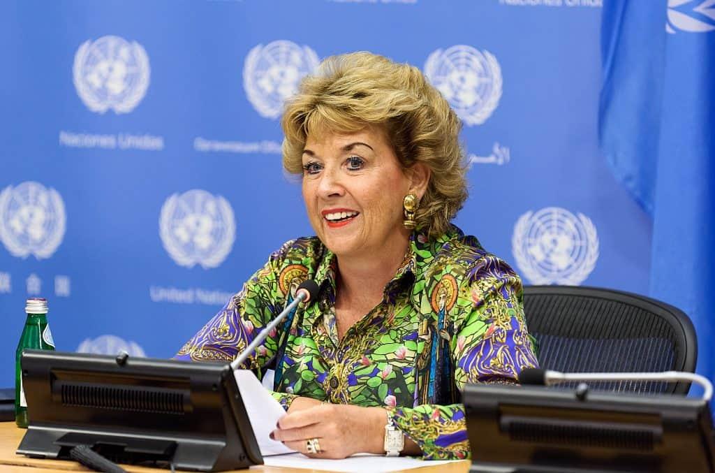 Photo of Geraldine Byrne Nason at UN Press Conference