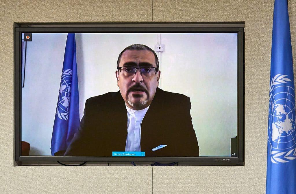 Photo of Ramiz Alakbarov at UN Press Conference