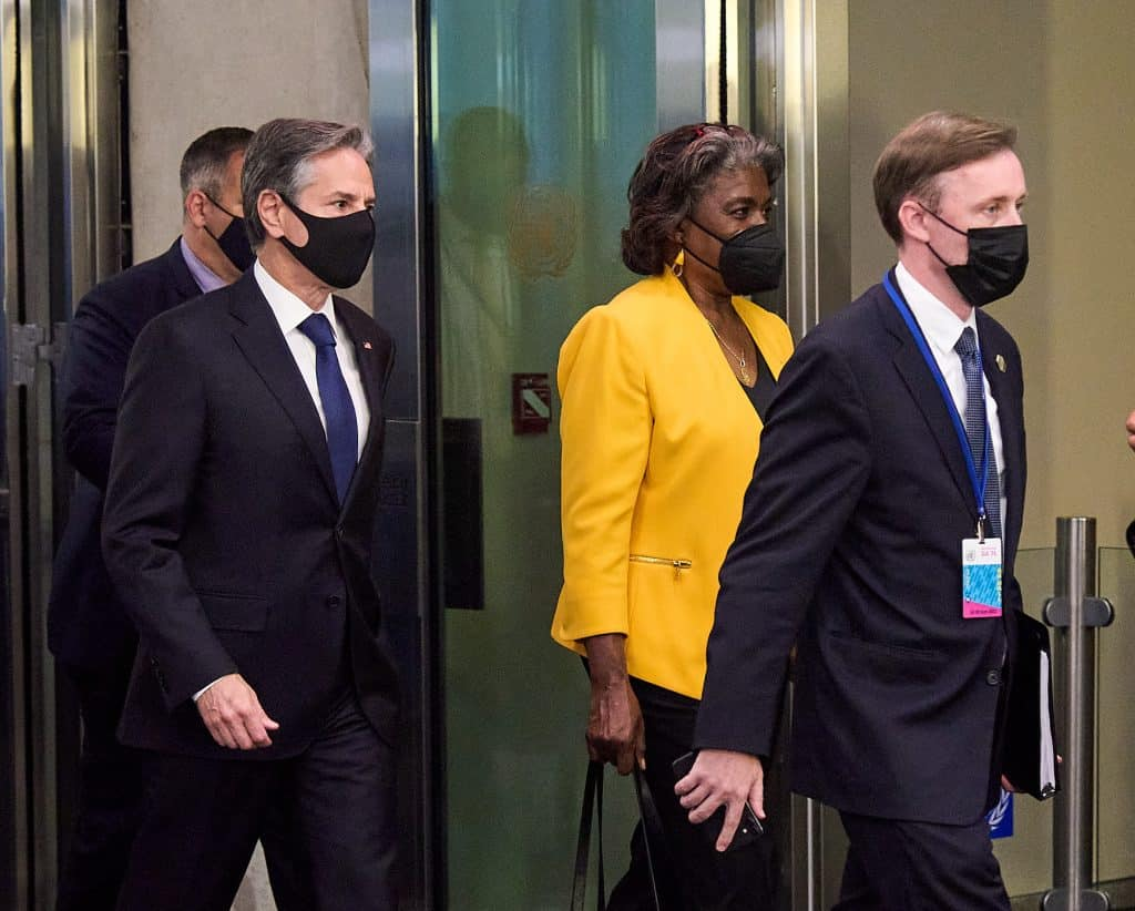Antony Blinken , Linda Thomas-Greenfield and Jake Sullivan at the UN